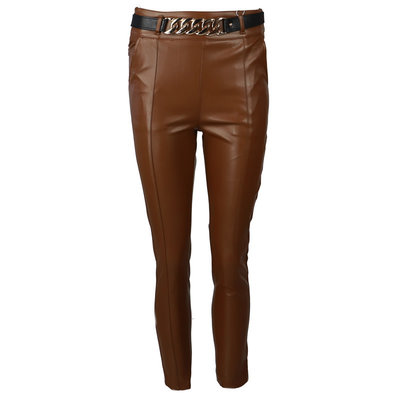 JAIMY Leather chain pants camel