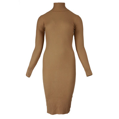 JAIMY Bo midi col dress camel