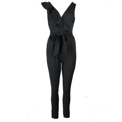 JAIMY Asymmetrical ruffle jumpsuit black