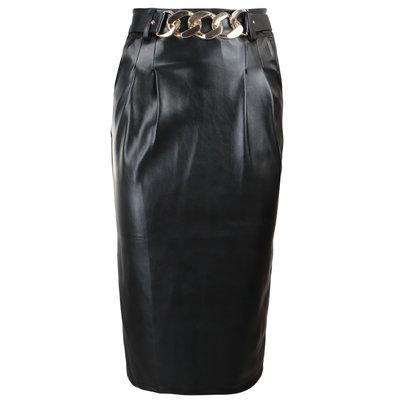 JAIMY Midi leather skirt chain detail