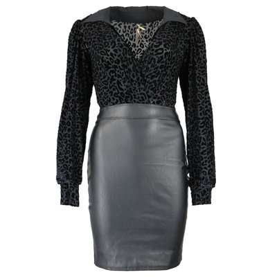 JAIMY Leopard top leather dress