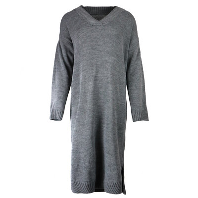 JAIMY Sweater dress v-neck dark grey