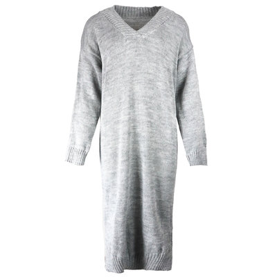 JAIMY Sweater dress v-neck light grey