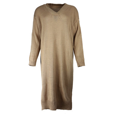 JAIMY Sweater dress v-neck camel