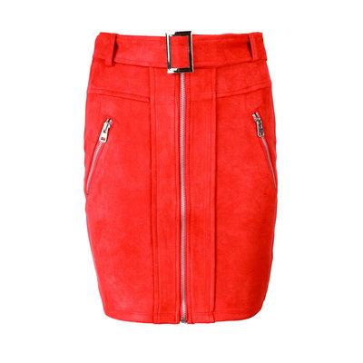 JAIMY Suedine Sophie skirt red