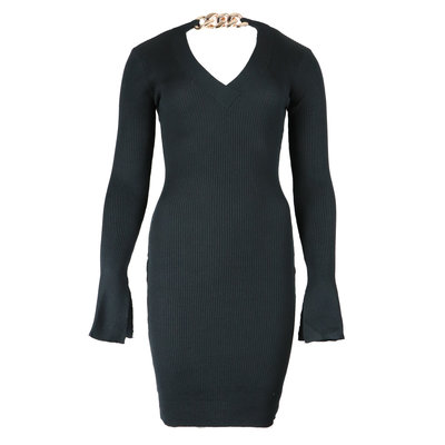 JAIMY Chain detail v-neck dress black