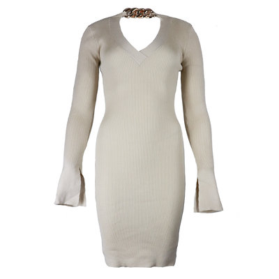 JAIMY Chain detail v-neck dress beige