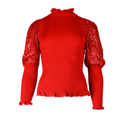JAIMY Glitter sleeve detail top red