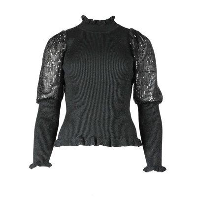 JAIMY Glitter sleeve detail top black