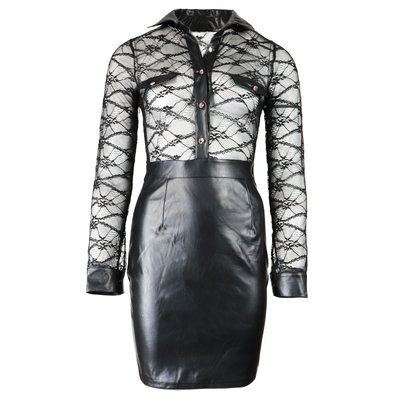 JAIMY Lace leather blouse dress