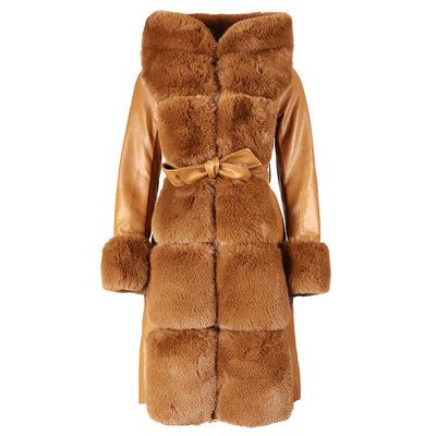 JAIMY Leather furry jacket camel