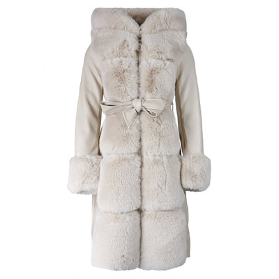 JAIMY Leather furry jacket creme