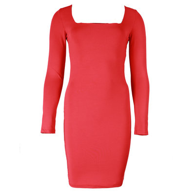 JAIMY Sqaure neck travel dress red