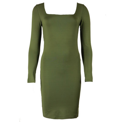 JAIMY Sqaure neck travel dress army green