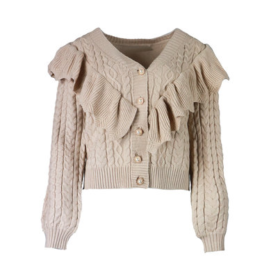 JAIMY Cable ruffle cardigan beige