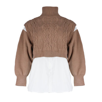 JAIMY Cropped spencer blouse 2-piece camel