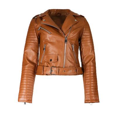 JAIMY Kim leather jacket camel