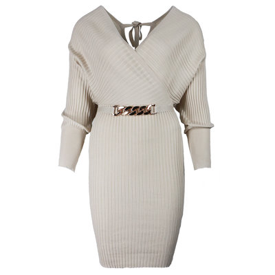 JAIMY Most beautiful comfy dress chain detail beige