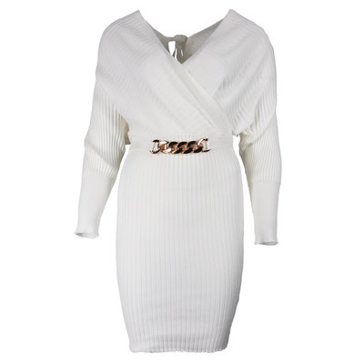 JAIMY Most beautiful comfy dress chain detail white