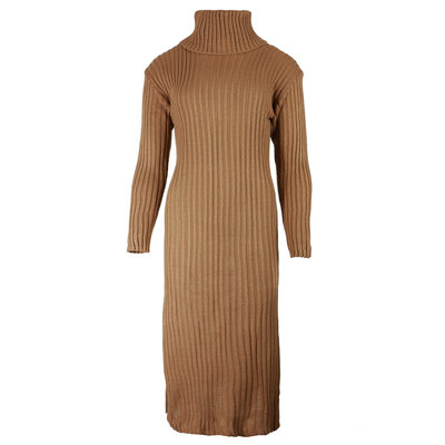 JAIMY Knitted col dress cognac