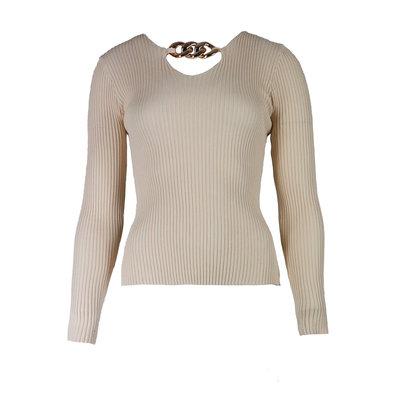 JAIMY Chain detail v-neck top beige