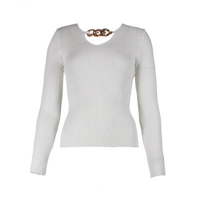 JAIMY Chain detail v-neck top white