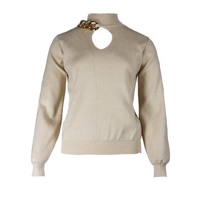 JAIMY Chain detail sweater beige