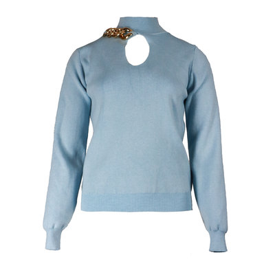 JAIMY Chain detail sweater light blue
