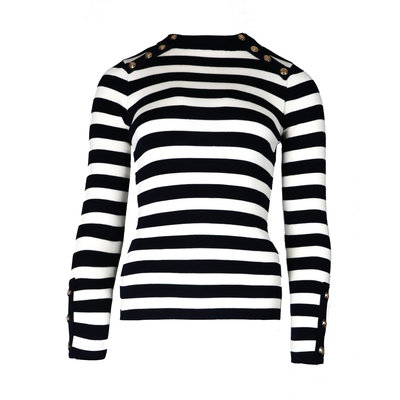 JAIMY Striped gold buttons top dark blue