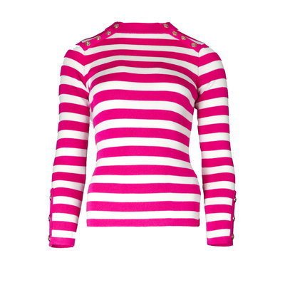JAIMY Striped gold buttons top hot pink