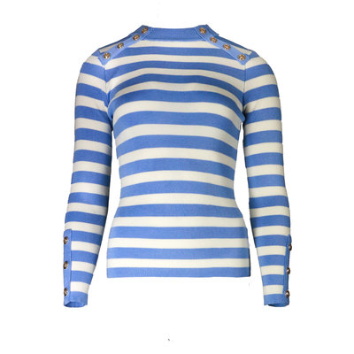 JAIMY Striped gold buttons top light blue