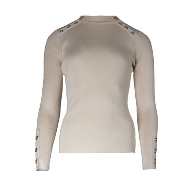 JAIMY Gold buttons top beige