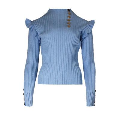 JAIMY Eef ruffle top light blue