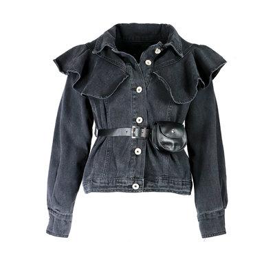 JAIMY Ruffle belted denim jacket black