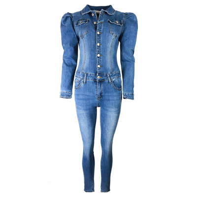 JAIMY Puff sleeve denim jumpsuit blue