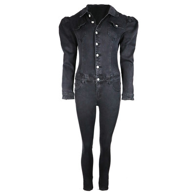 JAIMY Puff sleeve denim jumpsuit black