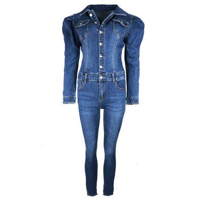 JAIMY Puff sleeve denim jumpsuit dark blue