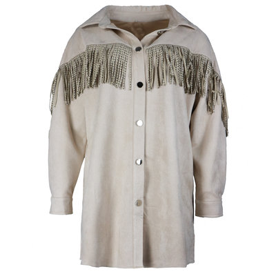 JAIMY Suedine fringe blouse tuniek beige