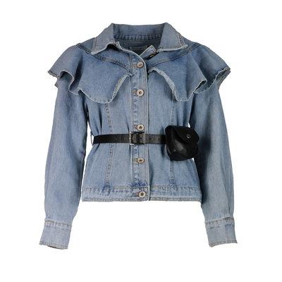 JAIMY Ruffle belted denim jacket blue