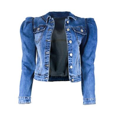 JAIMY Puff sleeve denim jacket light blue