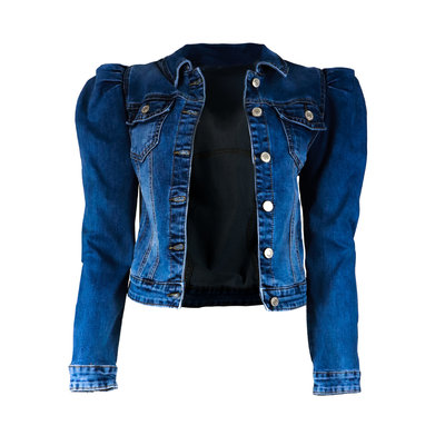 JAIMY Puff sleeve denim jacket dark blue