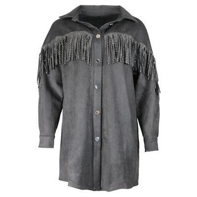 JAIMY Suedine fringe blouse tuniek black
