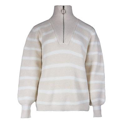 JAIMY Striped zipper sweater beige