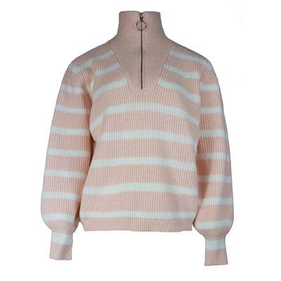 JAIMY Striped zipper sweater light pink