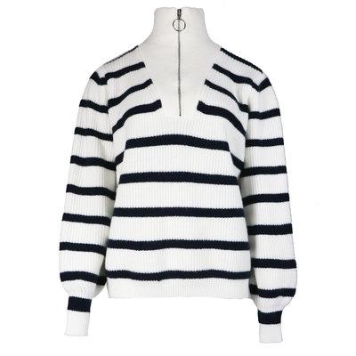JAIMY Striped zipper sweater white