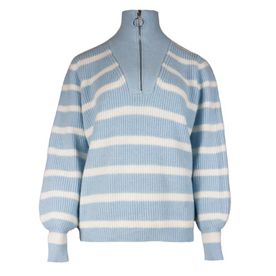 JAIMY Striped zipper sweater light blue