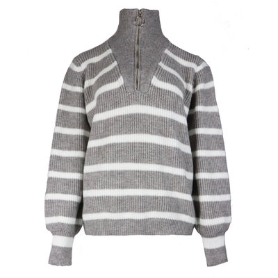 JAIMY Striped zipper sweater grey