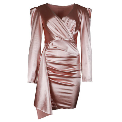 JAIMY Ruched satin dress light pink