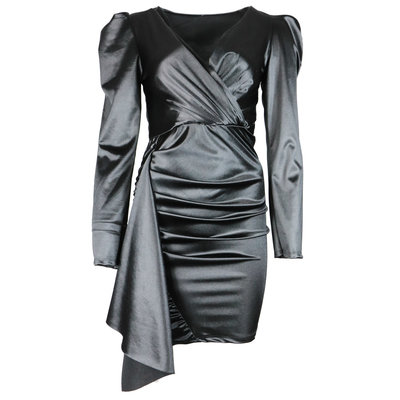JAIMY Ruched satin dress black