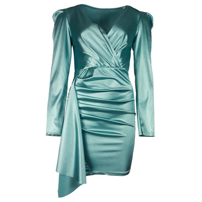 JAIMY Ruched satin dress mint